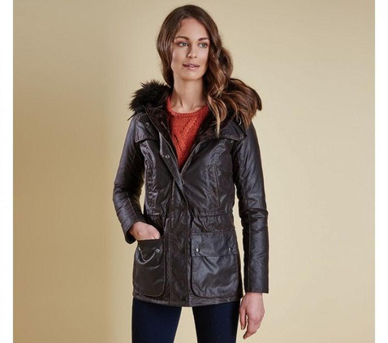 Barbour Women Ratio Hooded Wax Jacket Rustic