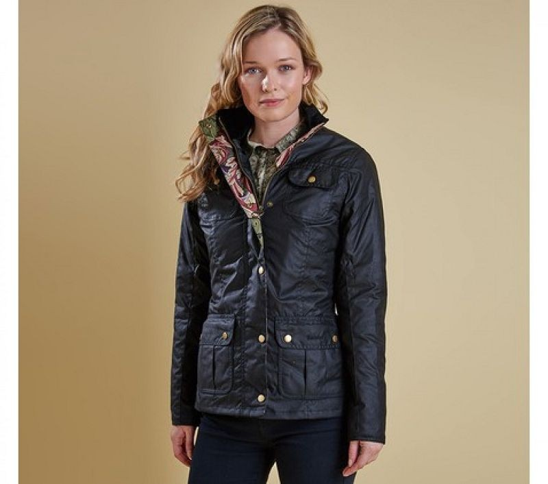 Barbour Women Ruskin Wax Jacke Black/Acanthus