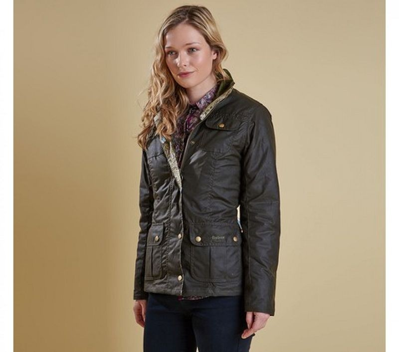 Barbour Women Ruskin Wax Jacke Olive/Art Bullrush
