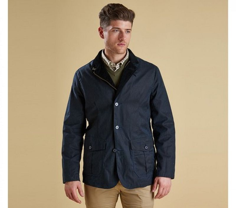 Barbour Men Lutz Waxed Jacket Navy