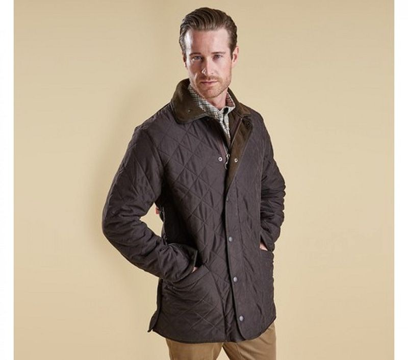 Barbour Men Microfibre Polarquilt Jacket Dark Brown