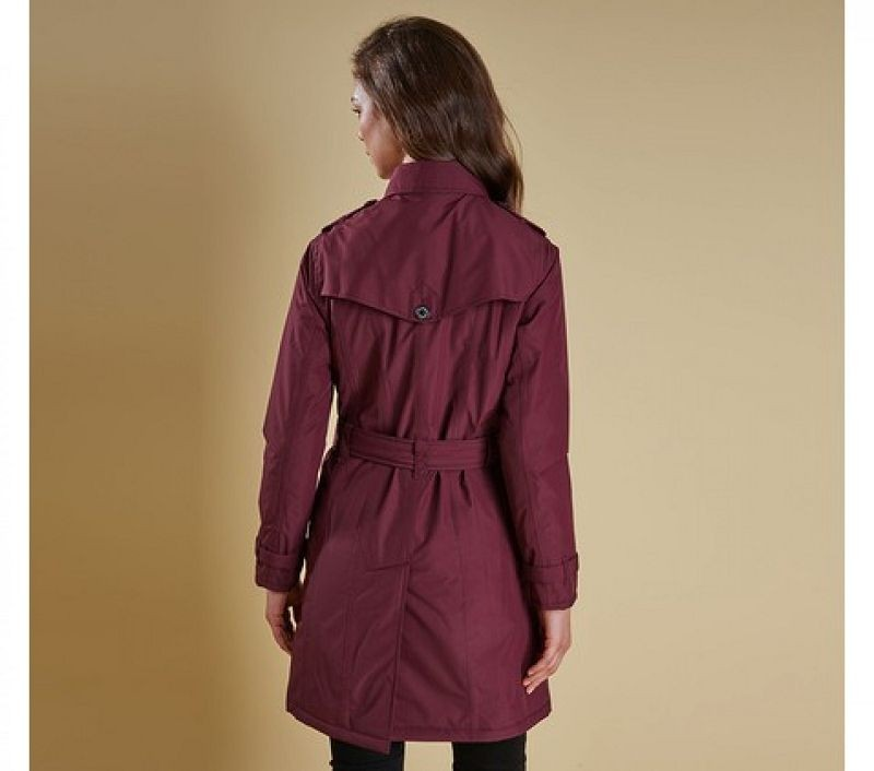Barbour Women Millfire Trench Jacket Bordeaux