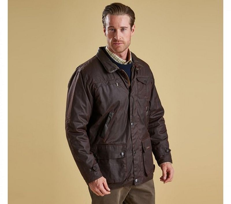 Barbour Men New Bushman Wax Jacket Brown