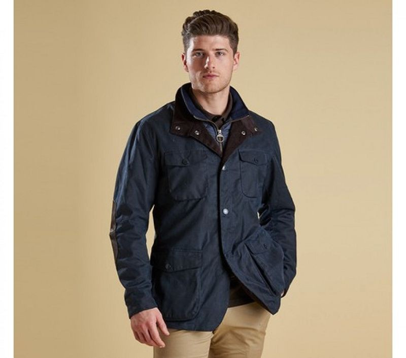 Barbour Men Ogston Waxed Jacket Navy