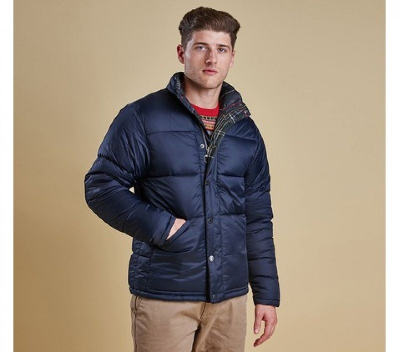 Barbour Men Piquet Quilted Jacket Navy