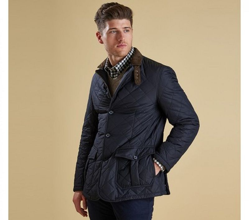 Barbour Men Quilted Lutz Quilted Jacket Navy