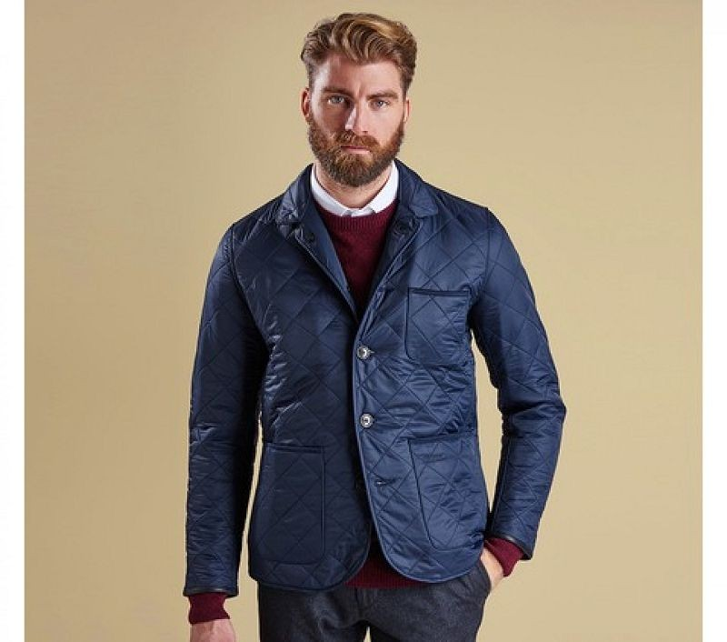 Barbour Men Racer Quilted Jacket Navy