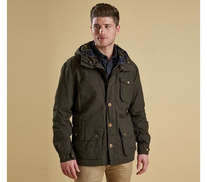 Barbour Men Stratus Waterproof Jacket Dark Olive