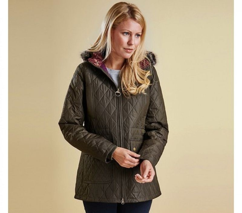 Barbour Women Tors Hooded Quilted Jacket Olive