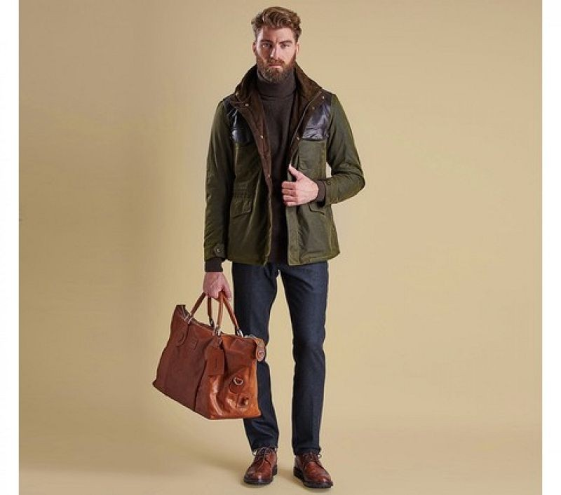 Barbour Men Traveller Wax Jacket Olive