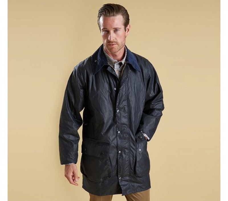 Barbour Men Border Waxed Jacket Navy