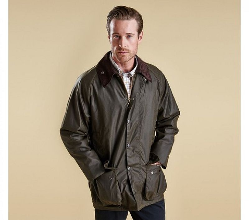 Barbour Men Classic Beaufort Waxed Jacket Olive