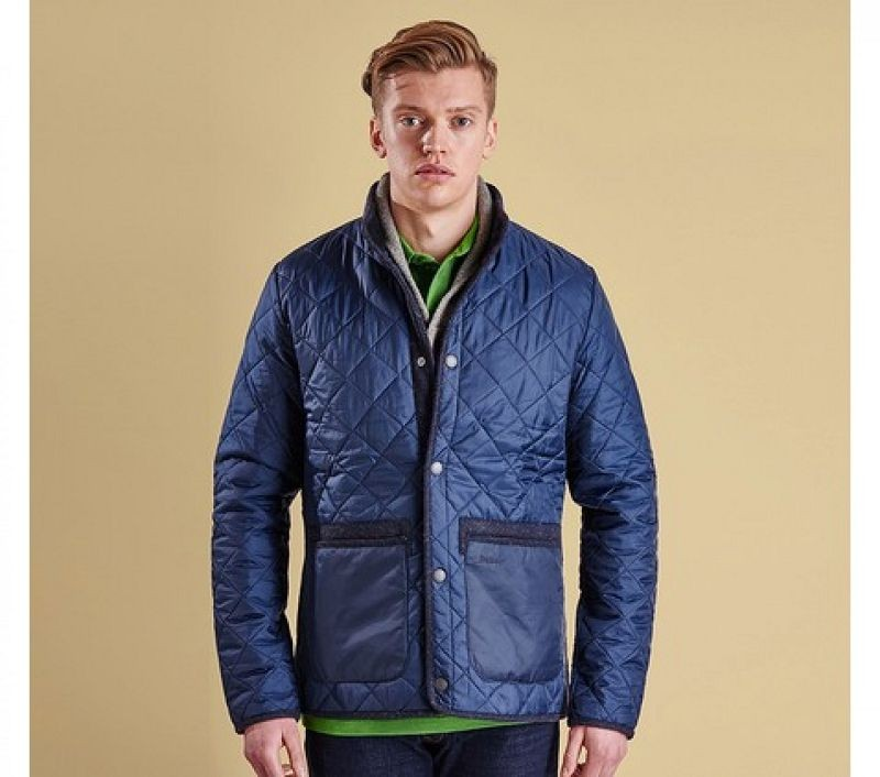 Barbour Men Tweed Liddesdale Quilted Jacket Navy