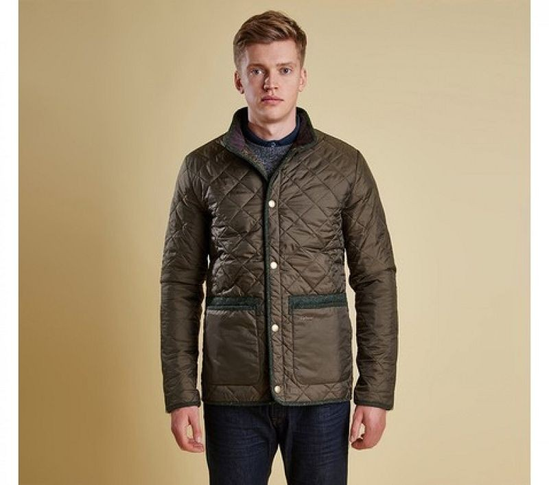 Barbour Men Tweed Liddesdale Quilted Jacket Olive