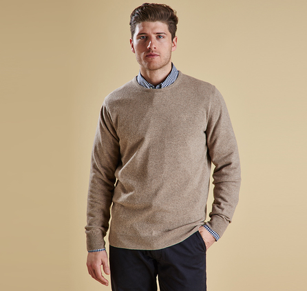 Barbour MKN0345BE31 Essential Lambswool Crew Neck Jumper