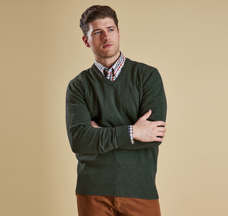 Barbour MKN0341GN91 Essential Lambswool V Neck Jumper