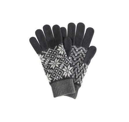 Barbour MGL0028BK11 Fairisle Gloves Black/Grey