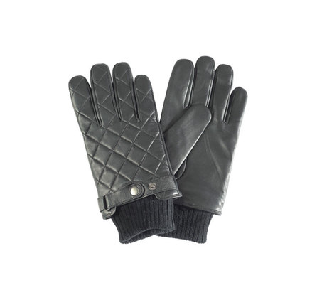 Barbour MGL0027BK11 Quilted Leather Gloves Black