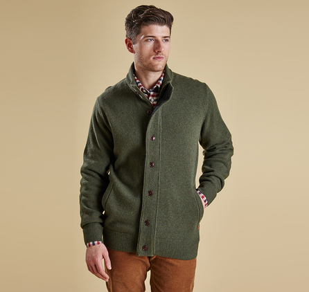 Barbour MKN0731OL91 Patch Zip Thru Jumper Olive Marl