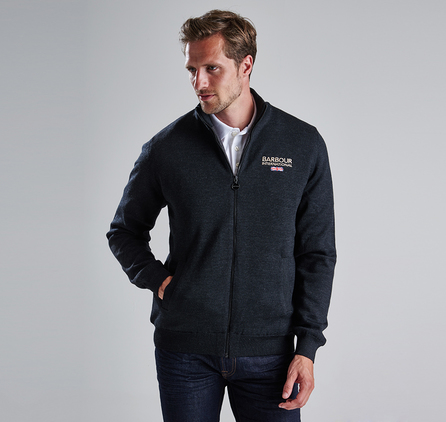 Barbour MKN0748CH51 Rowhill Zip Thru Jumper Charcoal Marl
