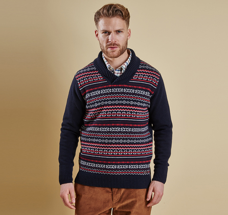 Barbour MKN0873NY91 Maldon Shawl Neck Jumper Navy