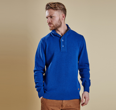 Barbour MKN0585BL56 Patch Half Zip Jumper Bright Blue