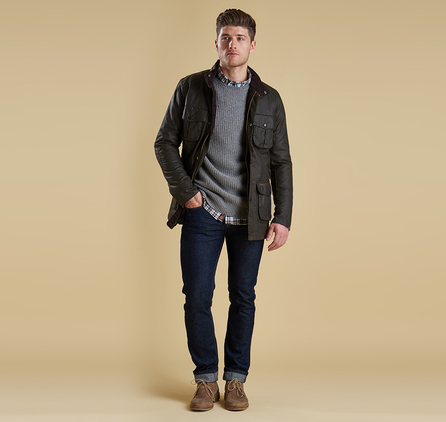Barbour MKN0744GY73 Riverton Crew Concrete Marl