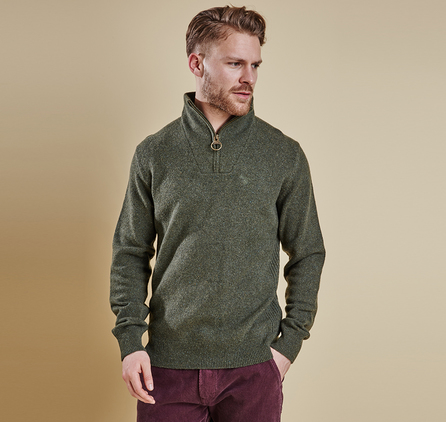 Barbour MKN0845GN91 Tisbury Half Zip Jumper Forest