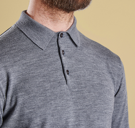 Barbour MKN0883GY52 Eastnor Long Sleeved Polo Grey Marl