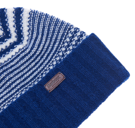 Barbour MHA0342NY91 Ashby Stripe Beanie Navy/Pearl