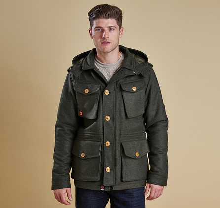 Barbour MWO0208OL52 Kemble Wool Jacket Olive