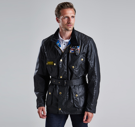 Barbour MWX0068BK91 Union Jack Waxed Jacket Black