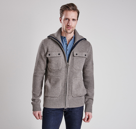 Barbour MKN0850GY14 Burn Full Zip Jumper Antique Grey