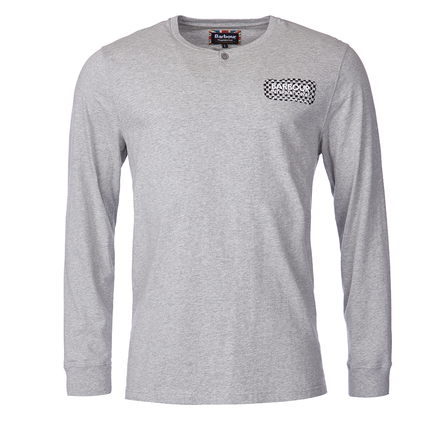 Barbour MTS0139GY52 Check Long Sleeved Tee Grey Marl
