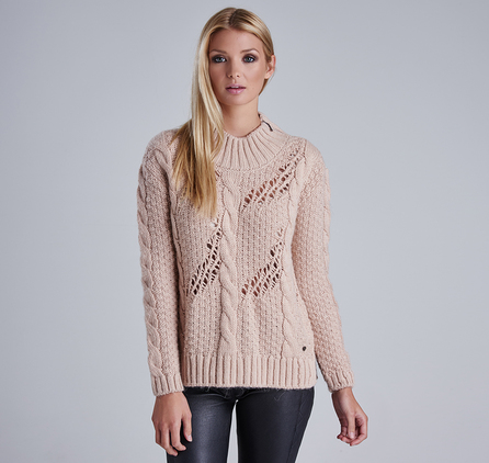 Barbour LKN0517PI15 Katana Cable Knit Jumper Oyster