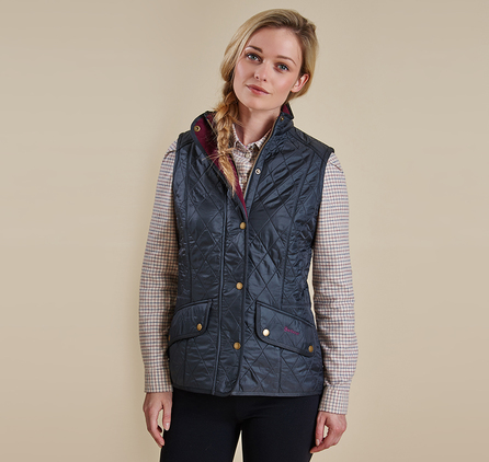 Barbour LQU0458NY71 Cavalry Quilted Gilet Navy/Red