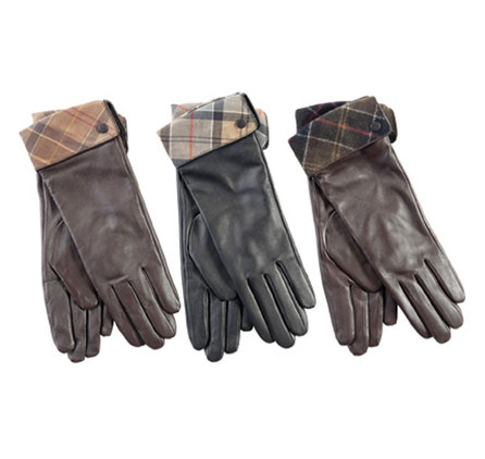 Barbour LGL0005BK11 Lady Jane Leather Gloves Black With Dress