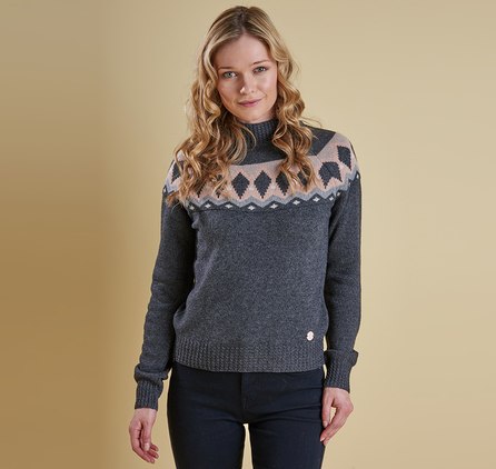 Barbour LKN0542CH91 Carston Knit Jumper Carbon Marl