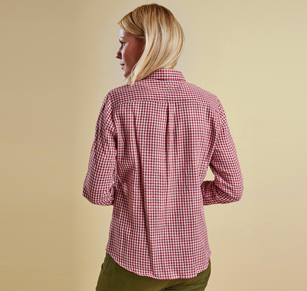 Barbour LSH0886RE75 Bower Gingham Shirt Wine Gingham