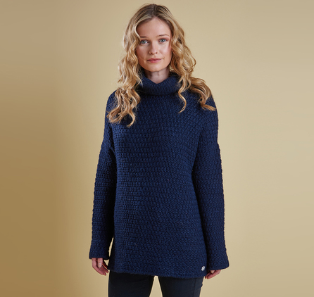 Barbour LKN0545NY72 Bartlett Knit Jumper Navy Blue