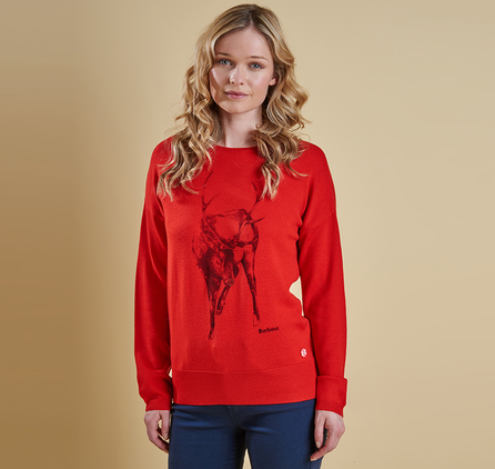 Barbour LKN0549RE53 Carston Xmas Knit Jumper Red