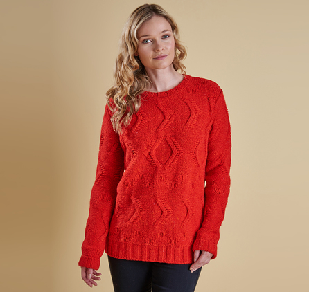 Barbour LKN0540RE53 Kirkby Cable Crew Sweater Red