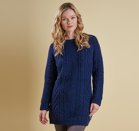 Barbour LKN0541NY72 Kirkby Cable Crew Sweater Naval Blue