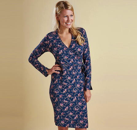 Barbour LDR0038NY91 Fell Wrap Dress Navy Bird Print