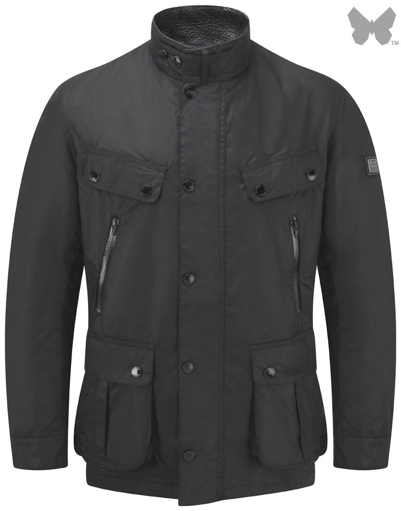 Barbour Black Falstone Waxed Jacket