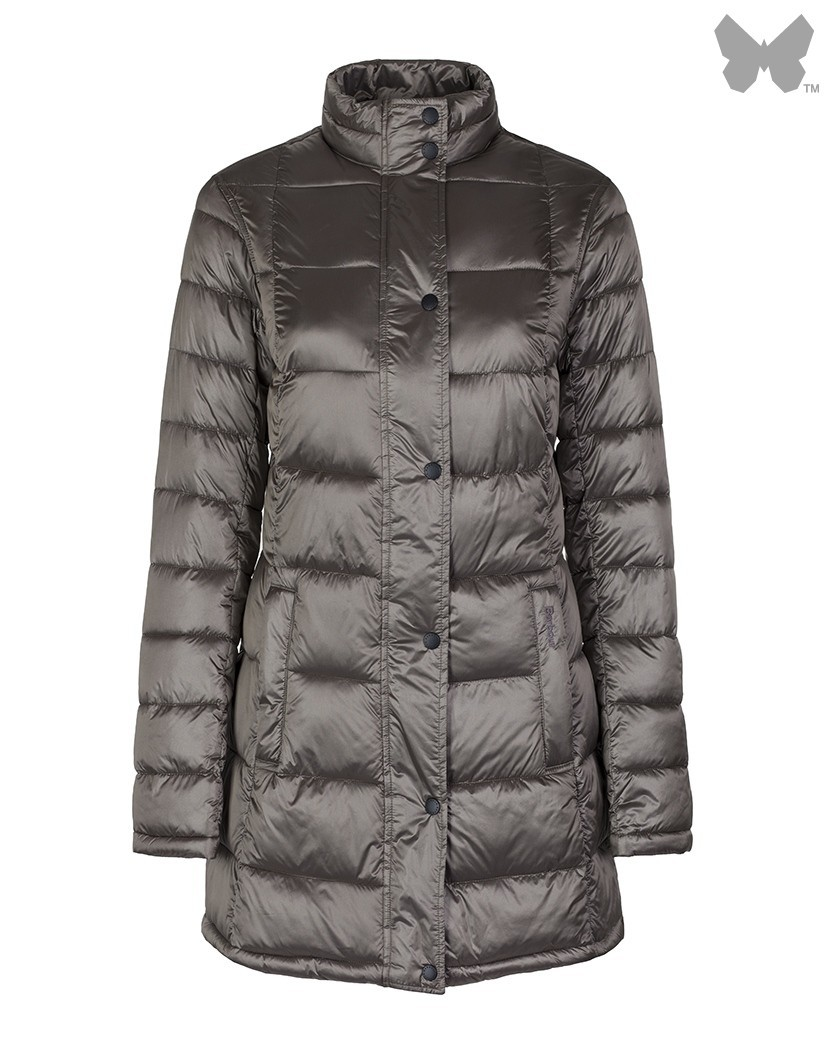 Barbour Mink Clyde Long Quilted Jacket