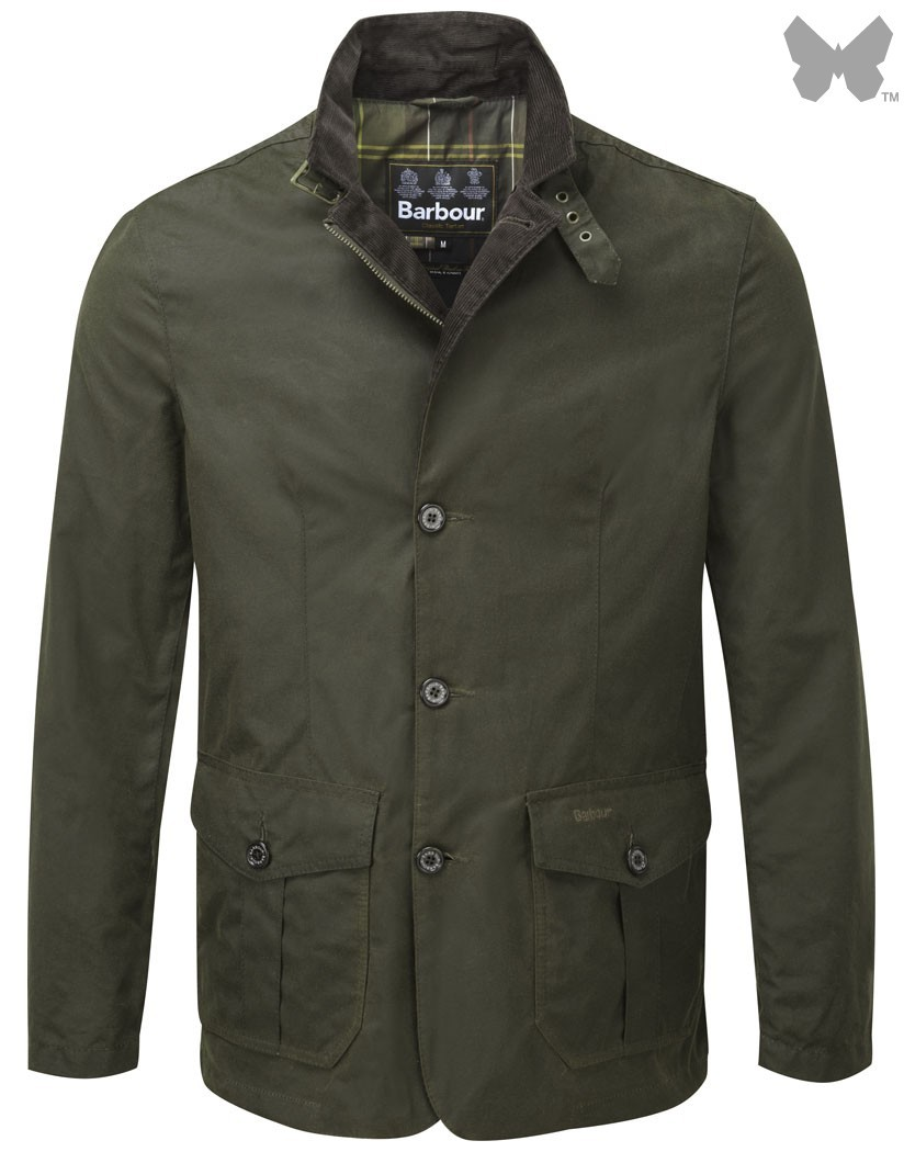 Barbour Olive Lutz Waxed Jacket